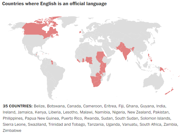 Countries where English is an official language